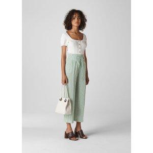 Green/Multi Belted Gingham Trouser | WHISTLES | Whistles