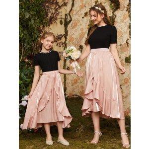 SHEIN10% off $29Girls 1PC Asymmetrical Hem Satin Skirt