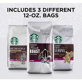 秒杀价¥215Starbucks 深度烘焙研磨咖啡豆 三种口味组合装