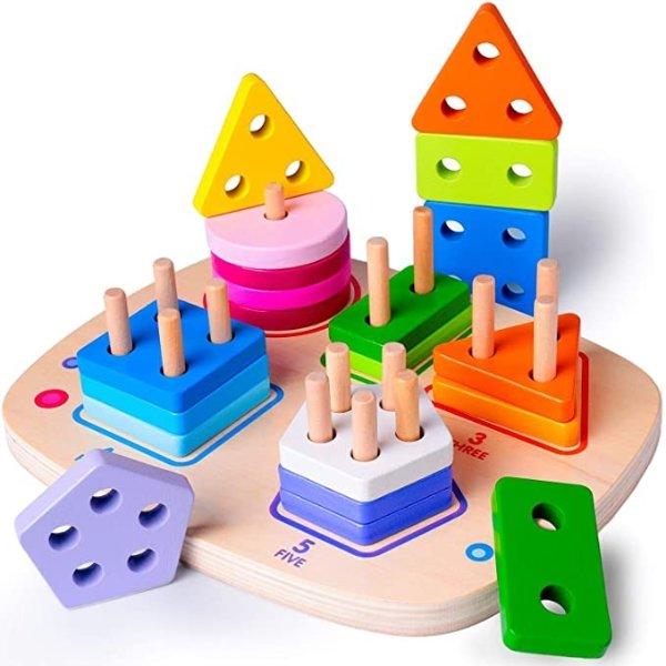 木质儿童蒙特梭利叠叠乐玩具28厘米