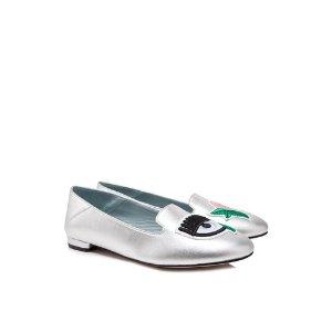 Chiara FerragniFlower Power Flirting 银色平底鞋
