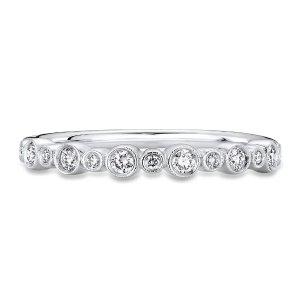 Bezel Set Diamond Wedding Ring With Milgrain