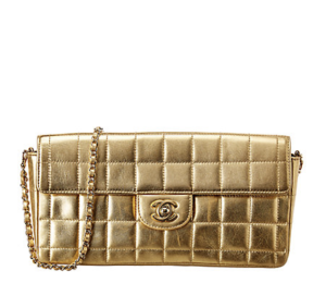 Chanel Gold Quilted Leather Chocolate Bar EastWest Bag