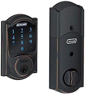 Schlage Z-Wave Connect Camelot Touchscreen Deadbolt with Built-In Alarm, Aged Bronze, BE469 CAM 716, Works with Alexa via SmartThings, Wink or Iris @ Amazon