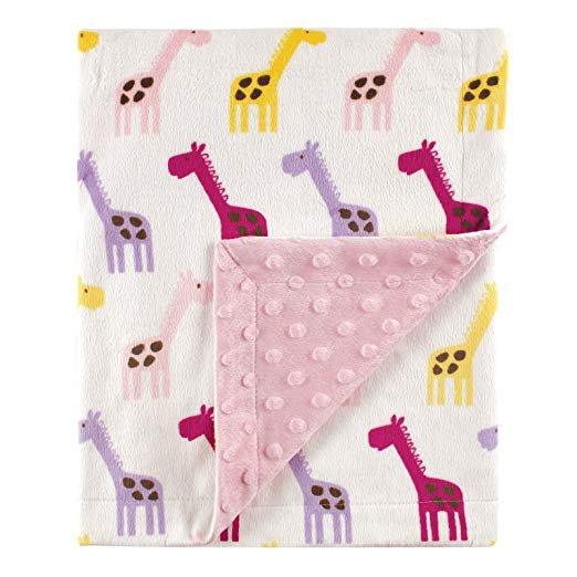 长颈鹿图案双面婴儿抓绒毯子