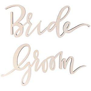 Amazon.com: BESTOYARD 2pcs Wedding Chair Banner Bride Groom Wood Sign Wedding Photo Booth Prop Wedding Hanging Decoration: Gateway