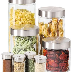 $20.99 Oggi Canisters & Spice Jars, Glass 8 Piece Set