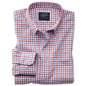 Charles TyrwhittSlim fit button-down non-iron twill red and sky blue gingham shirt