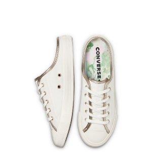 Converse金边半拖小白鞋