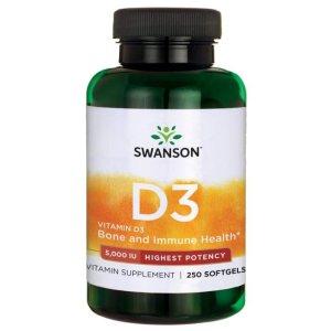 Swanson Health维生素D3 5000IU 250粒