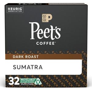 $15.39 一颗$0.48Peet's Sumatra 深培k cup 咖啡胶囊32颗