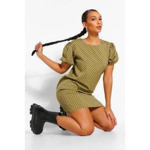 BoohooPolka Dot Puff Sleeve Shift Dress | boohoo