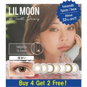 LIL MOON[Buy 4 Get 2 Free!] LIL MOON / EYE DOLL [1 Box 1 pcs × 6 boxes] / Monthly Disposal 1Month Disposable Colored Contact Lens DIA14.5mm