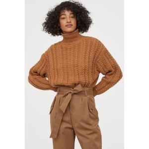 H&M高领麻花毛衣
