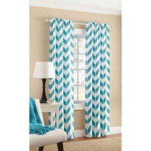 Mainstays Chevron Polyester/Cotton Curtain With BONUS Panel