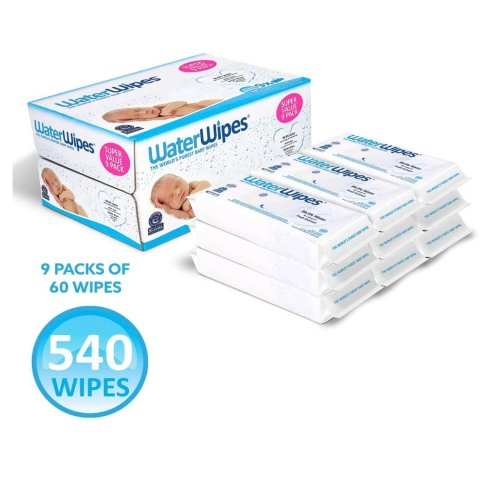 WaterWipes Sensitive Baby Wipes, 540 Count (9 Packs of 60 Count)