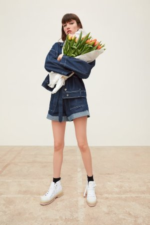 DENIM JACKET WITH TOPSTITCHING - JACKETS-WOMAN | ZARA United States
