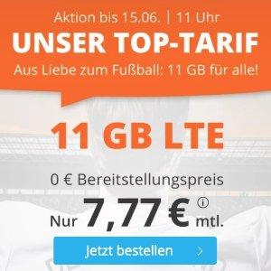 月租仅€7.77 免除€19.99接通费11点截止!足球季狂欢!每月11GB包月上网++60min免费电话