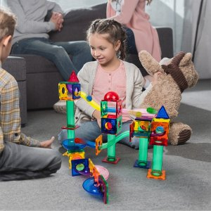 PicassoTiles Marble Run 70-Piece 3D Magnetic Building Block Set