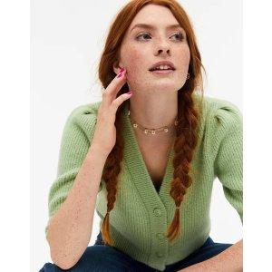 Monki绿色针织开衫