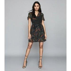 ReissSadie Black Print Floral Printed Mini Dress – REISS