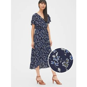 GapShort Sleeve Print Midi Wrap Dress