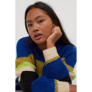 H&M宽松条纹毛衣