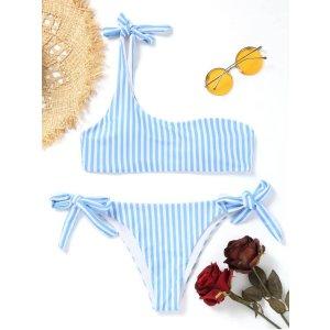 $4 OFF $30+, $9 OFF $60+, $15 OFF $100+Striped One Shoulder String Bikini