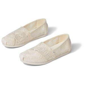 Toms米白色蕾丝帆布鞋