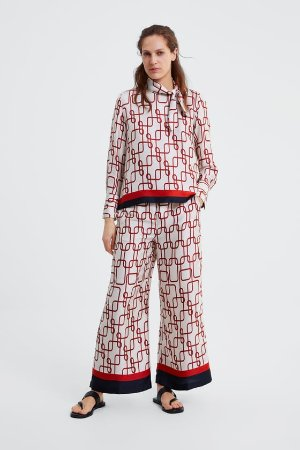 PRINT BLOUSE WITH BOW - CO-ORD SETS-WOMAN | ZARA United States