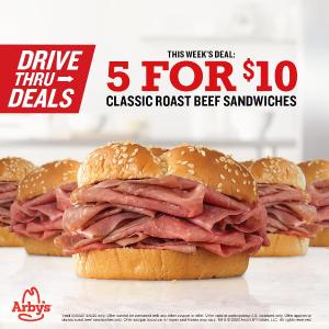 5个$10 一个仅$2Arby's 经典烤牛肉薄片汉堡限时优惠