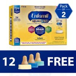 $51.9612 FREE Bottle Nipples with Purchase of TWO 24-Packs of Enfamil NeuroPro Liquid Baby Formula @Walmart