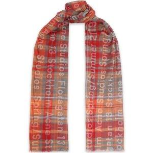 Acne StudiosFrayed printed cotton-twill scarf