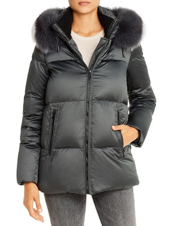 Fox Fur-Trim 羽绒外套