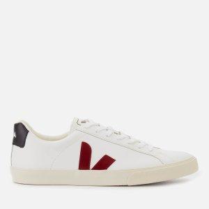 VejaMen's Esplar Logo Leather Low Top Trainers - Extra White/Marsala/Black