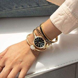 $79(原价$225)Anne Klein AK/1470 施华洛世奇水晶腕表套装