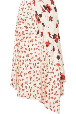 Self-Portrait   Asymmetric floral-print satin-jacquard skirt   NET-A-PORTER.COM