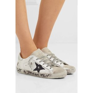 GOLDEN GOOSESuperstar distressed printed leather sneakers