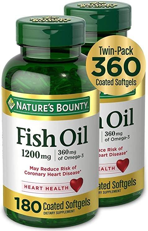 Nature's Bounty 鱼油1200mg 360粒软胶囊 2瓶
