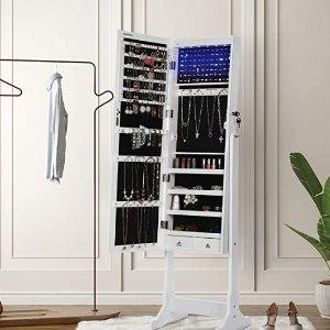 $183.97 (原价$213.01)SONGMICS LED穿衣镜+首饰收纳柜二合一 完美利用小空间