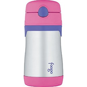 $8.79THERMOS FOOGO Vacuum Insulated Stainless Steel 10-Ounce Straw Bottle, Pink/Purple