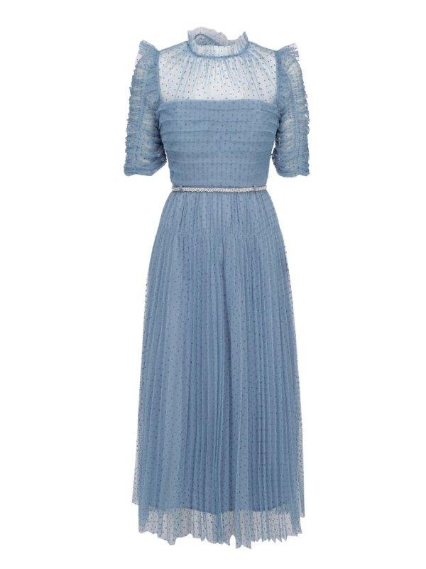 Polka-Dot蓝色波点连衣裙