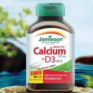 低价 $4.92 (原价$8.47)Jamieson Mega Cal 钙+维生素D3复合片120粒