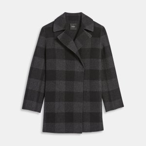 Overlay Coat in Check Double-Face Wool | Theory