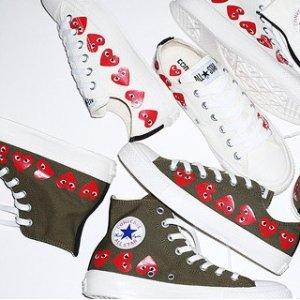 明星爆款$180  黄金码有货上新:CDG Play X Converse 合作款帆布鞋