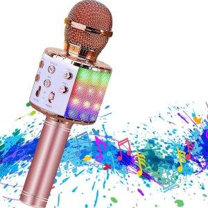 $18.95(原价$37.9)史低价:Hoiicco 无线掌上KTV  炫酷彩灯 四合一 在家是想唱歌自由