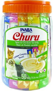 Inaba Churu Tuna & Chicken Puree Variety Pack Grain-Free Lickable Cat Treat, 50 count - Chewy.com