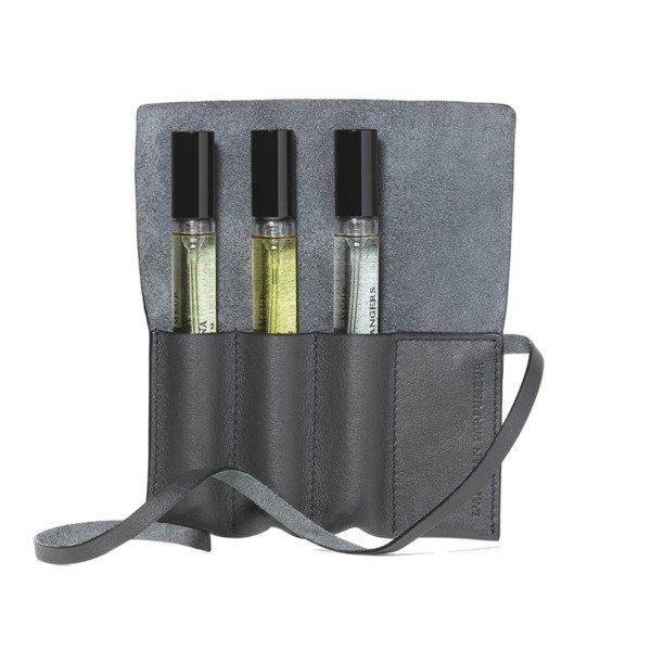 灰色皮革香水袋