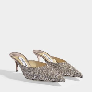 Jimmy ChooRav 65 Mules in Platinium Mix Painted Coarse Glitter Fabric