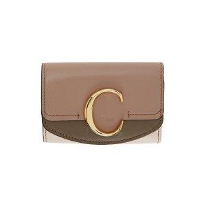 Chloe拼色C扣钱包